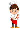chef cook holding cleaver knife and carrot cartoon vector image