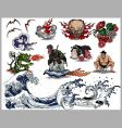 Japanese tattoo elements vector image