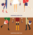 Shopping Everyday Girl with Shopping Bags Set of vector image