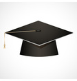 Traditional graduation hat isolated on white vector image