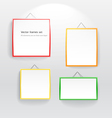 Blank color boards different sizes on wall vector image