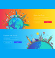 flat design web page travel banners set vector image