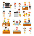cartoon kids cooking collection vector image