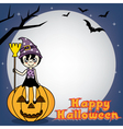 Witch sitting on a pumpkin vector image vector image