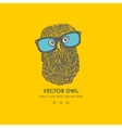 Print with cute and clever owl in glasses vector image
