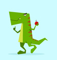 green dino in action 04 vector image vector image