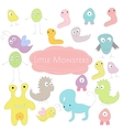 Little funny colored Monsters Doodle vector image
