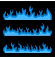 Blue Fire Burning Flames Set on a Black Background vector image