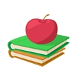 Books with apple icon cartoon style vector image