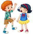 Boy teasing little girl vector image