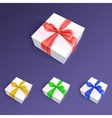 Gift boxes with ribbons and bows in different vector image