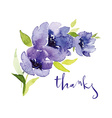 Postcard watercolor blue flowers vector image