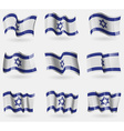 Set of Israel flags in the air vector image