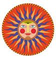 summer sun in russian style ornamental decoration vector image