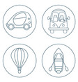 set of 4 circles with cartoon transport vector image