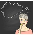 Thinking woman holding pencil vector image