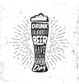 Hand drawn vintage label with beer bocal sunburst vector image