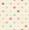 Retro seamless pattern Color maple leaves and dots vector image