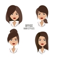 set of hair styles and hairdos for office vector image