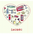 London Pen Drawn Doodles Collection vector image