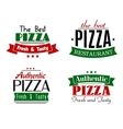 The best authentic pizza emblems vector image