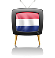 A television with the flag of the Netherlands vector image