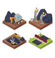 isometric coal industry withpeople working in mine vector image