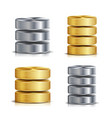 network database disc icon set realistic vector image