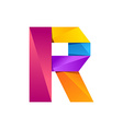 R letter one line colorful logo design template vector image