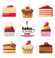 Set of delicious biscuits Yummy cupcakes donuts vector image
