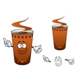Takeaway cup of coffee cartoon character vector image