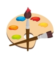 cartoon pallette paint color brush isolated vector image