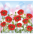 Floral background with red poppies vector image vector image