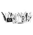 Hand drawn artist stuff vector image