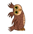 set isolated emoji character cartoon owl asks the vector image
