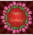happy birthday - red background with roses vector image