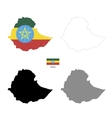 Ethiopia country black silhouette and with flag on vector image