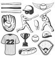 Baseball Monochrome Elements Set vector image