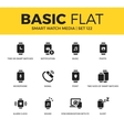 Basic set of Smart watch media icons vector image