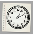 Doodle clock made of spoon and fork vector image
