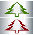 Set of two Christmas trees vector image