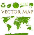 World map with icons of ecology vector image