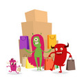 cartoon cute monster shopping character vector image