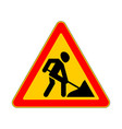 road sign warning road work on white background vector image