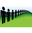 Long line of people lined up on the earth vector image