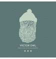 Print with cute and clever owl iwinter hat vector image vector image