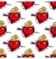 Burning fiery heart seamless pattern vector image