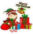 Christmas theme with girl and presents vector image