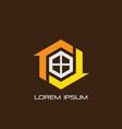 hexagon home arrow logo vector image