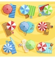 Sandy Beach From Above With Umbrellas And Sunbeds vector image